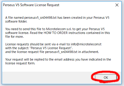 Perseus License Request file made