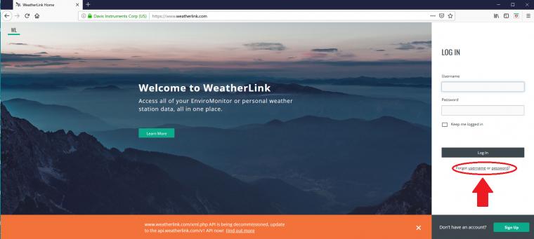 WeatherLink.comログイン画面