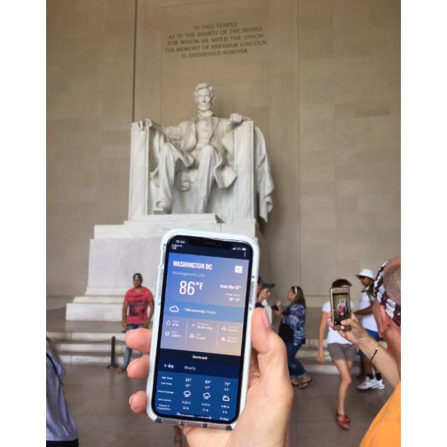 WeatherLinkモバイル とリンカーン像